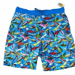 Bass Pro Shop fishing lure print blue swim trunks large waist 36 new with tags